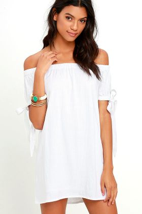 Al Fresco Evenings Ivory Off-The-Shoulder Dress