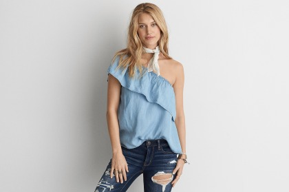 AEO One Shoulder Chambray Shirt