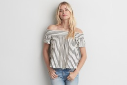 AEO Off-The-Shoulder Natural White Top