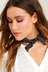Vanessa Mooney Rosalie Black and White Polka Dot Bandana